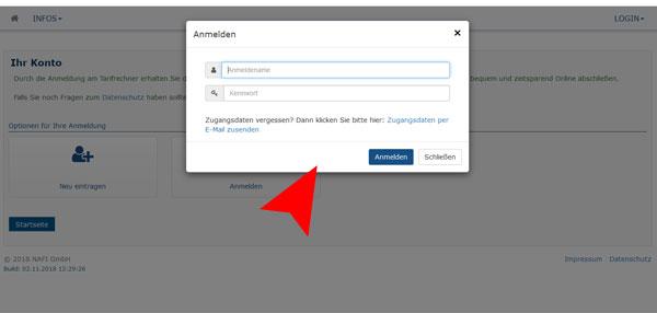 Schritt3: Anmelden oder neues Passwort holen